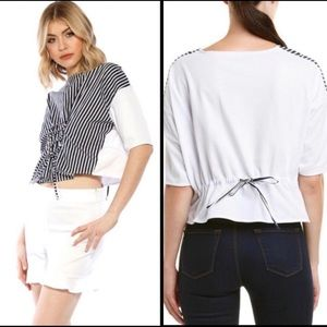 WALTER BAKER STRIPED CROPPED LACED BETINA TOP M